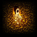 Musical background fire break with a treble clef. Vector illustration of musical background fire break with golden treble clef and musical notes in the Stock Photography