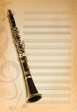 Musical background with flute. Key and notes Stock Photo