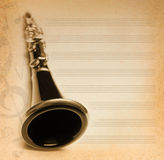 Musical background with flute. Key and notes Stock Photography