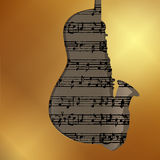Musical background in gold style sax and guitar Stock Image