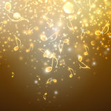 Musical background with golden notes Stock Images