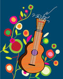 Musical background with guitar and flower. Bright placard royalty free illustration