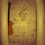 Musical Background guitar old  sheets Stock Photos