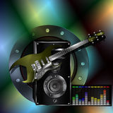 Musical background with a guitar and a speaker Royalty Free Stock Images
