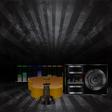 Musical background with a guitar and a speaker 3 Stock Images