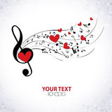 Musical background with hearts Royalty Free Stock Images