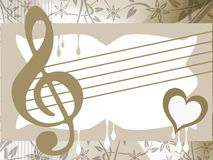 Musical background illustration in green and white Stock Images