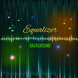 Musical background with key. notes and equalizer Stock Photography