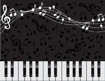 Musical background with keys and notes. Dark background with piano keys and notes Royalty Free Stock Images