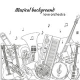 Musical background made of different musical instruments, treble clef and notes. Black and white colors. Royalty Free Stock Images