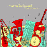 Musical background made of different musical instruments, treble clef and notes. Red, yellow, turquoise and gray colors. Set of li Stock Photography