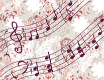 Musical background with melody. And floral pattern Stock Photos
