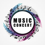 Musical background. Music style round shape frame. Vector illustration Stock Images
