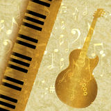 Musical background piano keys and guitar jazz Royalty Free Stock Images