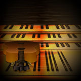 Musical background piano keys and guitar uno Royalty Free Stock Photos
