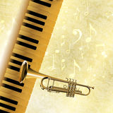 Musical background piano keys and trumpet jazz Royalty Free Stock Image