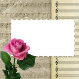 Musical background with pink rose for design Stock Photography