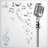 Musical background with retro microphone Royalty Free Stock Image