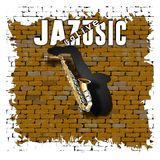 Sax jazz is a live music on an old brick wall. Musical background saxophone in the doorway of an old brick wall and the words jazz is a live music Stock Photography