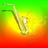 Musical background Saxophone and waves of musical notes Stock Images