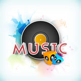 Musical background with speakers and stylish text. Royalty Free Stock Image