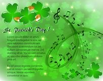 St. Patrick`s musical background with clover and coins. Musical background to the day of St. Patrick with clover and gold coins Vector Illustration