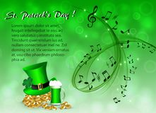 Abstract musical background for St. Patrick`s Day. Musical background to the day of St. Patrick with a gold coins, a green leprechaun hat, and green beer Royalty Free Stock Photography
