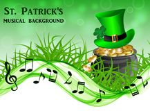 Abstract musical background for St. Patrick`s Day. Musical background to the day of St. Patrick with a pot of gold, a green leprechaun hat on a green grass Vector Illustration