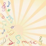 Musical background with treble clef and notes Royalty Free Stock Image