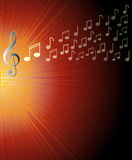 Musical background with treble clef and and notes on red rays area. Overlay for a concert program, Royalty Free Stock Images
