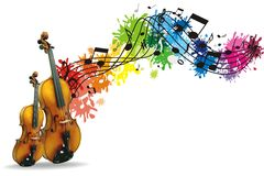 Musical background with tree Royalty Free Stock Photography