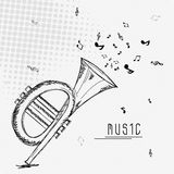 Musical background with trumpet. Royalty Free Stock Image