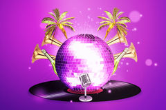 Musical background with vinyl record and disco ball. Night party in the air Stock Images
