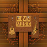 Musical background with wooden boards Royalty Free Stock Photo
