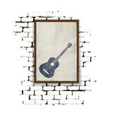 Musical background wooden frame on a brick wall Stock Photos