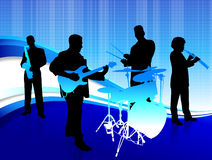Musical Band on Abstract Blue Background Stock Photography