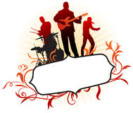 Musical Band on Abstract Tropical Frame Background Royalty Free Stock Photo