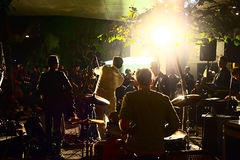 Musical band playing in Hong Kong royalty free stock photo