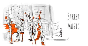 A musical band of street musicians. The Quartet plays jazz on a city street. royalty free illustration