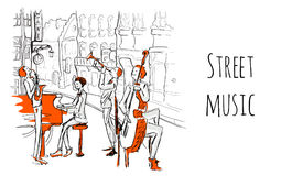 A musical band of street musicians. The Quartet plays jazz on a city street. Vector illustration in sketch style. A musical band of street musicians. The royalty free illustration