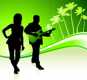 Musical Band on Tropical Green Background Royalty Free Stock Photography