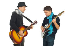 Musical band of two men stock image