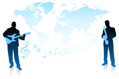 Musical Band on World Background Stock Photography