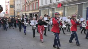 Musical bands parade through the streets of Oslo. Norway stock footage