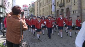 Musical bands parade through the streets of Oslo. Norway stock video