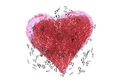 Musical Beating Heart Royalty Free Stock Images