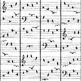 Musical bird notes (seamless pattern) Royalty Free Stock Photography