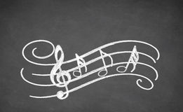 Musical Black board. Musical notes - made with white chalk on a blackboard Stock Photo