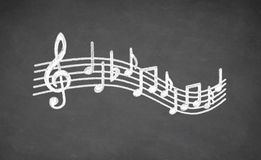 Musical Black board. Musical notes - made with white chalk on a blackboard Stock Images
