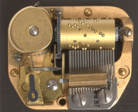 Musical box inside mechanism. Close up Royalty Free Stock Images